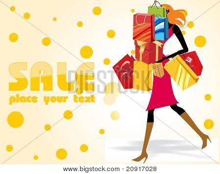 verrückte Verkauf Hintergrund mit einem modernen Mädchen mit Einkaufstüten beladen