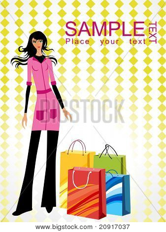 sample text shopping background with a trendy girl photo