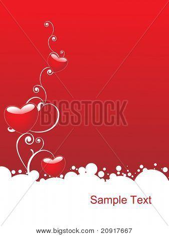 corazón rojo brillante con elementos florales, Ilustración