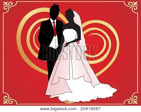 wedding background with bride and bridegroom silhouette