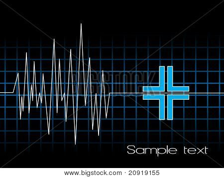 electrocardiogram with medical icon, vector
