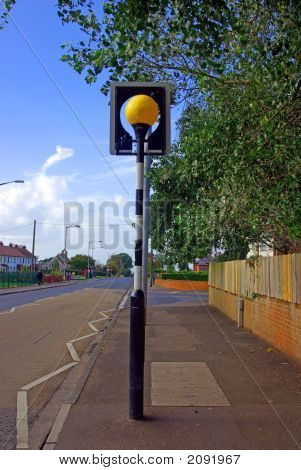 Belisha Beacon On  Pedestrian Crossing