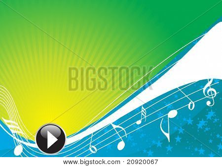 abstract waves green blue background with musical nodes