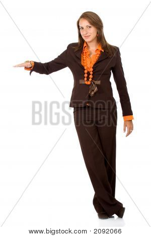 Business Woman With Hand On Something