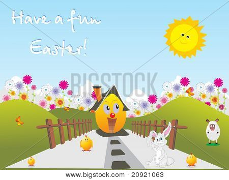 vector illustration of easter family