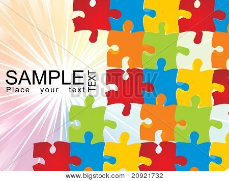 puzzle vector with shiny rays background illustration