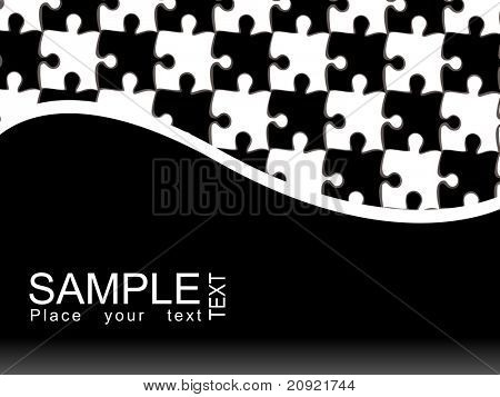 vector puzzle with curve text background, abstract illustration