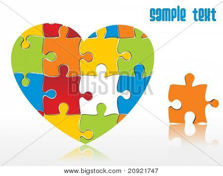 abstract vector heart shape puzzle integration