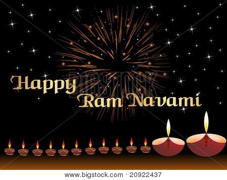 abstract black background with blinking star or lamps,for ram navami