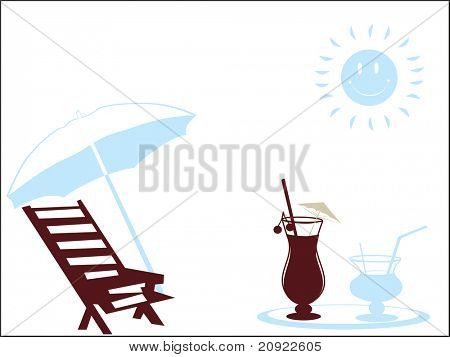 beach vector illustration with sun background