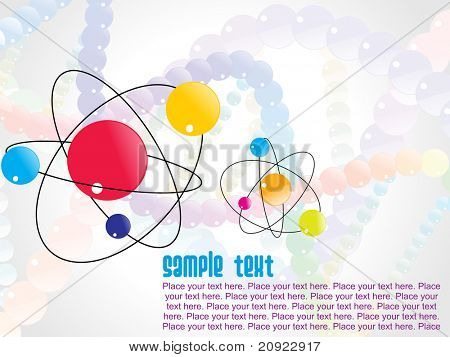 abstract atomic structure with sample text illustration