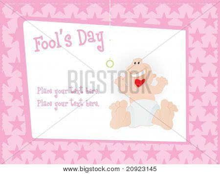 abstract pink star background with fools day card illustration