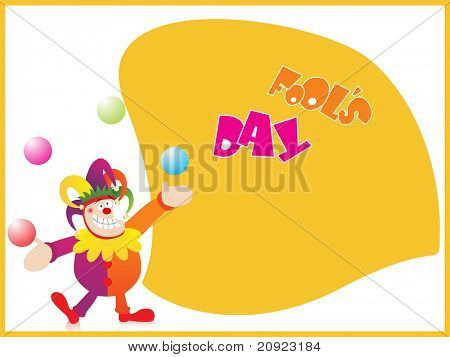 fools day background with clown juggling the balls