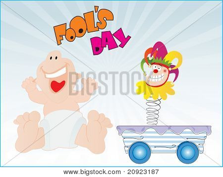 abstract blue rays background with cartoon and trolley