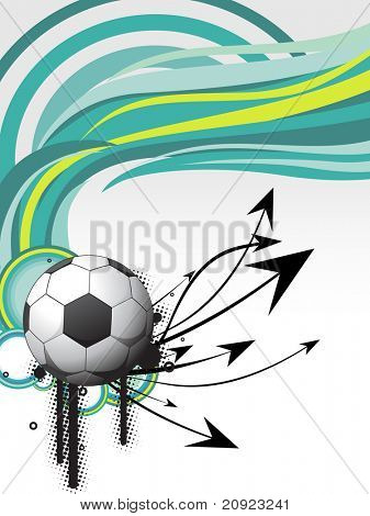 bola de futebol grunge com listras verdes e ponta de seta