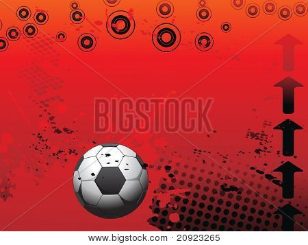 red grungy and circle background with arrow and soccer illustration