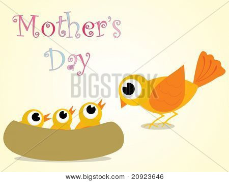 mother day background with bird and his kitten