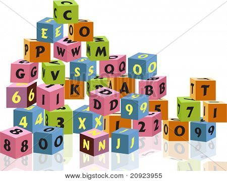 wooden blocks with letters and numbers on white background