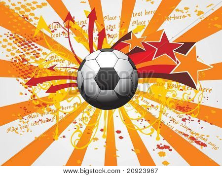 orange rays background with artistic design soccer and arrowhead