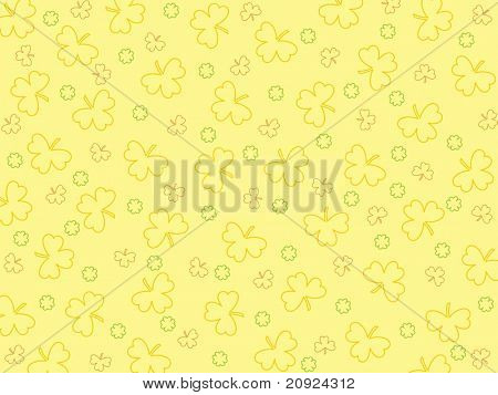 seamless shamrock pattern with yellow background, vector wallpaper
