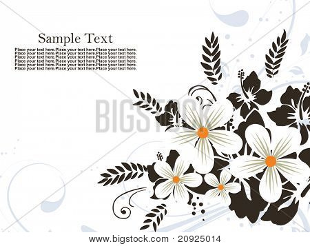 black and white flower pattern background with sample text