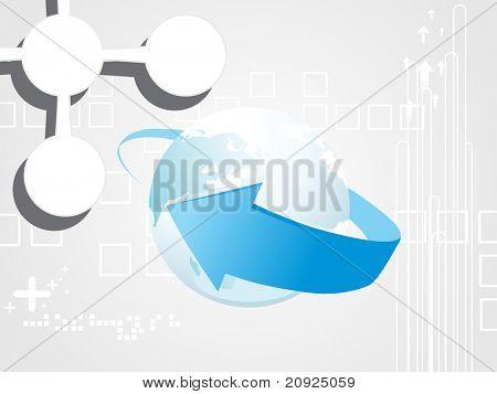 abstrato cinzento com globo e ponta de seta