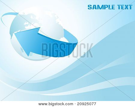 abstract blue stripes background with arrowhead and globe