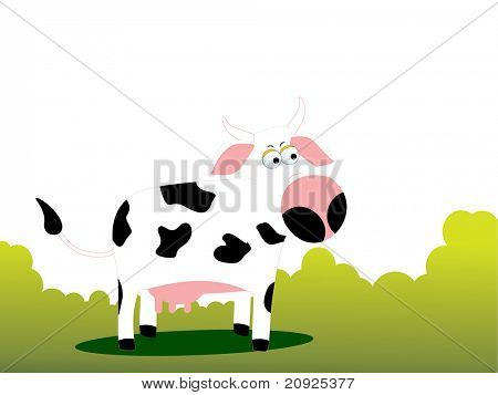 green garden background with comic cow illustration
