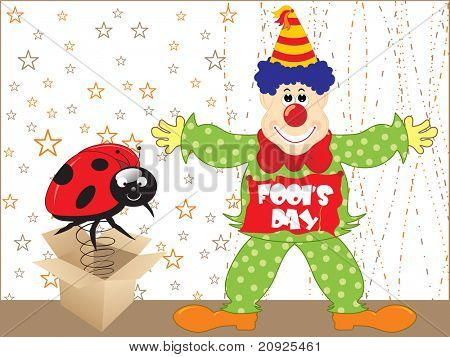 abstract background, cardboard box with bug and joker illustration, vector wallpaper