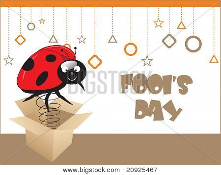 cardboard box with bug on spring, vector illustration
