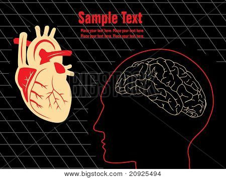 abstract brain, heart illustration with place for text