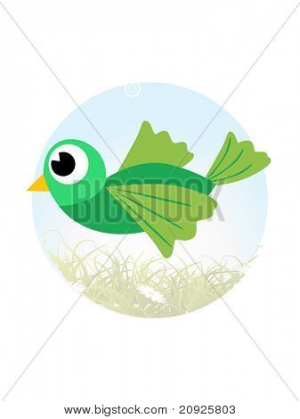 abstract garden illustration with bird