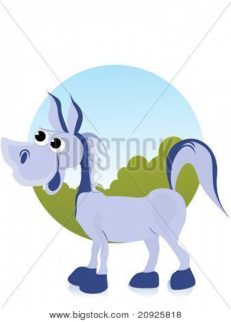 comic donkey with abstract background