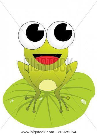 vector natural green frog with rain drop