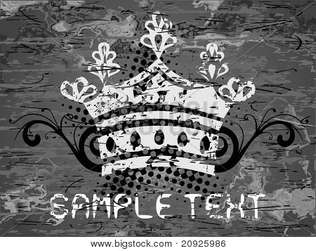 abstract black texture background with retro crown and sample text