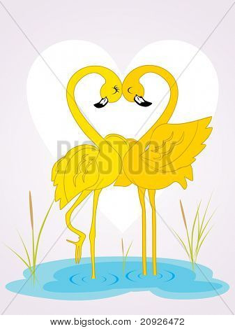 white heart shape background with cute bird couple making heart with neck, vector wallpaper