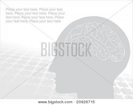 grey human face with brain, vector silhouette