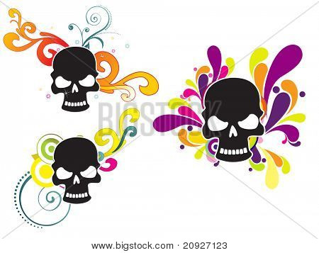 set of three human skull with colorful artwork