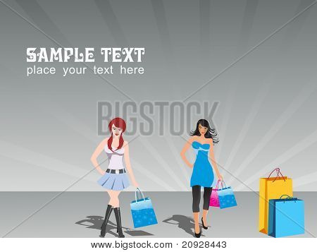 vector illustration, group of two shopping girls