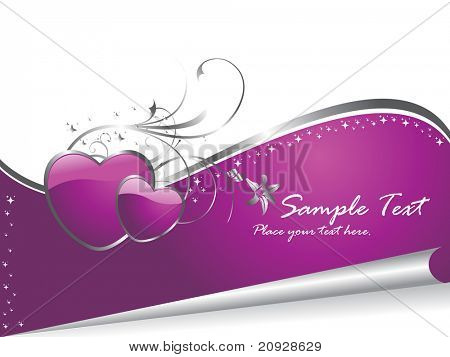 purple heart with floral pattern and sample text