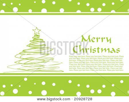 green tree pattern greeting card, vector illustration