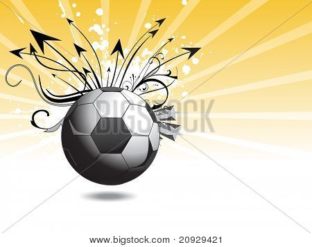 abstrato amarelo raios base com futebol sujo com design artístico e ponta de seta