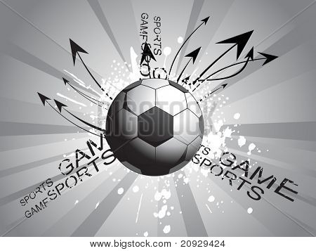 grey rays background with grungy soccer and curve arrows
