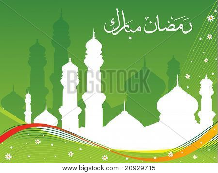 abstract green wave background with mosque, holy alphabet