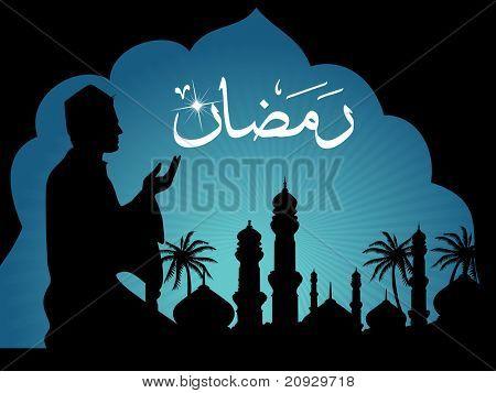 fundo do Ramadã com homem rezando a silhueta