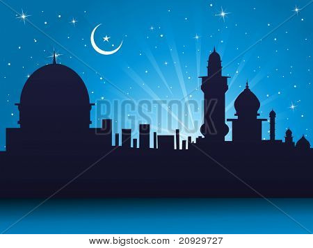 abstract night background with blue rays, mosque