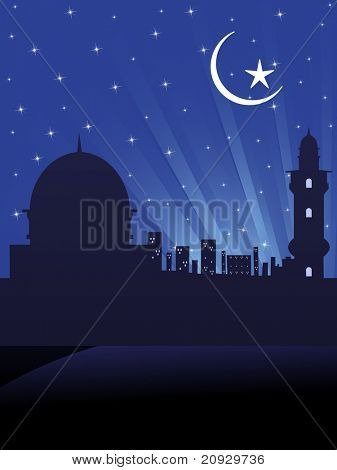 abstract blue rays background with mosque, vector illustration