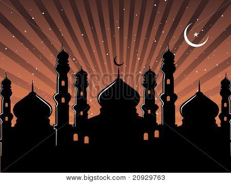 abstract brown rays, moon, star background with mosque silhouette