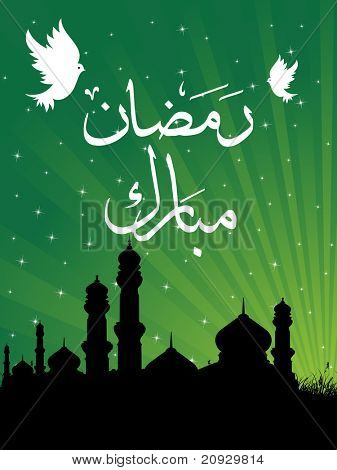 abstract green rays background with mosque, white pigeon