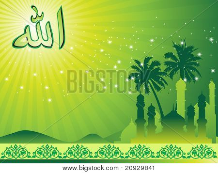 abstract green rays ,zoha background with tree, mosque illustration